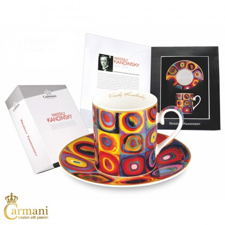 Tea Cup and Saucer, Fine Bone China, with Wassily Kandinsky Squares with Concentric Circles 250ml