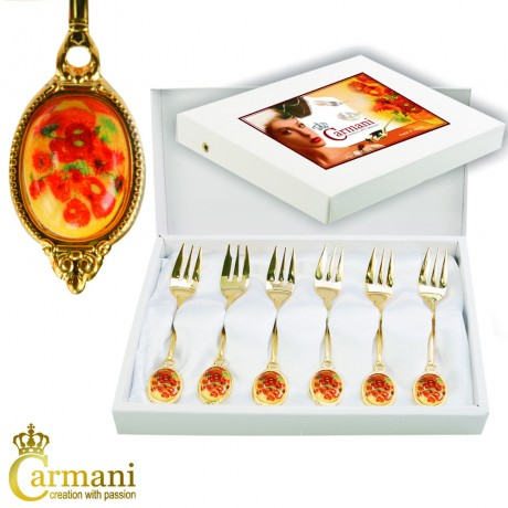 Set of 6 Dessert fork decorated with Van Gogh Sunflower theme in gift box