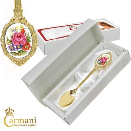Shabby Chic Ceramic Handled espresso spoon Pink roses