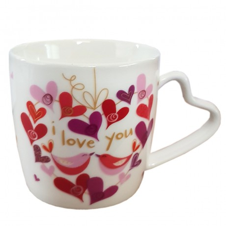 `I love you` Ceramic Mug Coffee, Tea, Hot Chocolate, Cup with printed hearts and heart handle