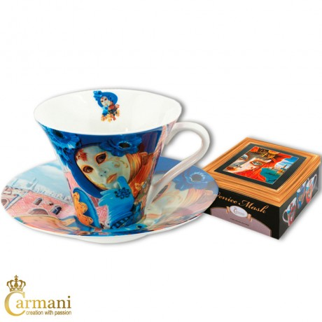 Porcelain Tea- or Coffee cup and saucer with `Venice Mask` by Alex Levin 250 ml