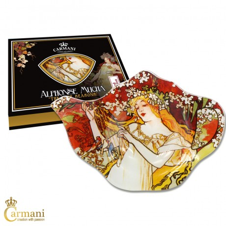 Elegant Glass Tea Bag Holder Dish in Teapot shape with `Four Season SPRING` by Alphonse Mucha
