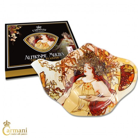 Elegant Glass Tea Bag Holder Dish in Teapot shape with `Four Season AUTUMN` by Alphonse Mucha