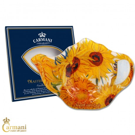 Elegant Glass Tea Bag Holder Dish in Teapot shape with `SUNFLOWERS` by Vincent van Gogh