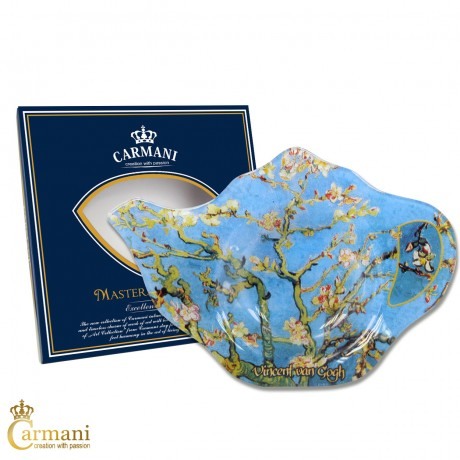 Elegant Glass Tea Bag Holder Dish in Teapot shape with `ALMOND BLOSSOM` by Vincent van Gogh