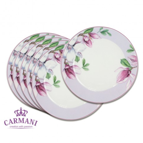 Porcelain dessert plate with Magnolia set of 6
