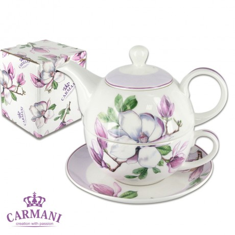 Porcelain Tea for One cup and pot, with Magnolia 280 ml