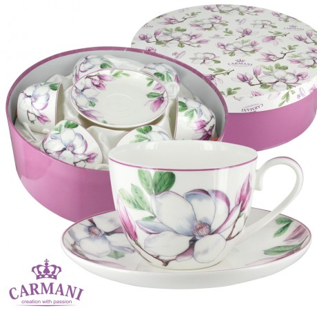 Porcelain tea cup and saucer with Magnolia set of 6