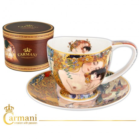 Porcelain Cup with saucer decorated with `Three ages of women` by Gustav Klimt 260ml