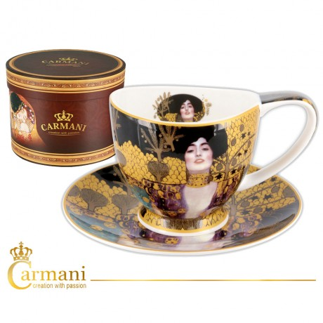 Porcelain Cup with saucer decorated with `Judith and holofernes` by Gustav Klimt 260ml