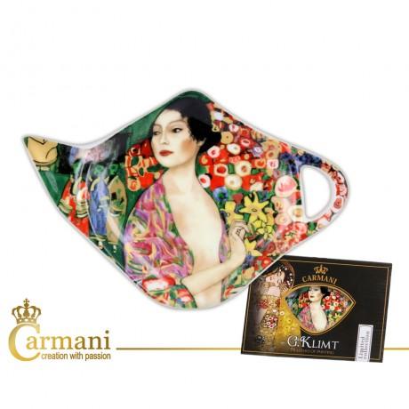 Elegant Tea Bag Holder Dish in Teapot shape with `Dancer` by Gustav Klimt
