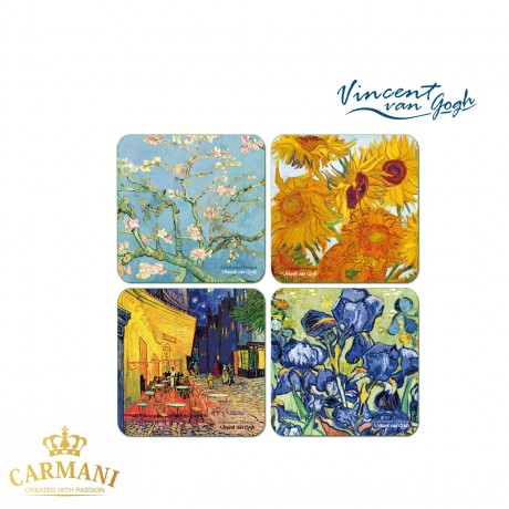 4 piece cork pad / coaster decorated with various painting by Vincent van Gogh