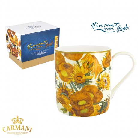 Fine Bone China Mug for Tea, Coffee in a Gift Box with Vincent Van Gogh - Sunflowers 380 ml