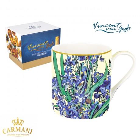 Fine Bone China Mug for Tea, Coffee in a Gift Box with Vincent Van Gogh - Irises 380 ml