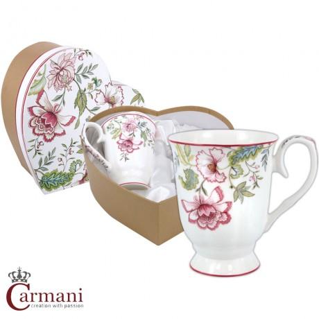 Elegant mug decorated with `Pink Carnation` set of 2