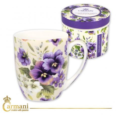 Fancy Tea-coffee mug decorated with `pansy` 370 ml