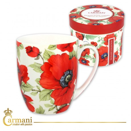 Fancy Tea-coffee mug decorated with `poppy` 370 ml