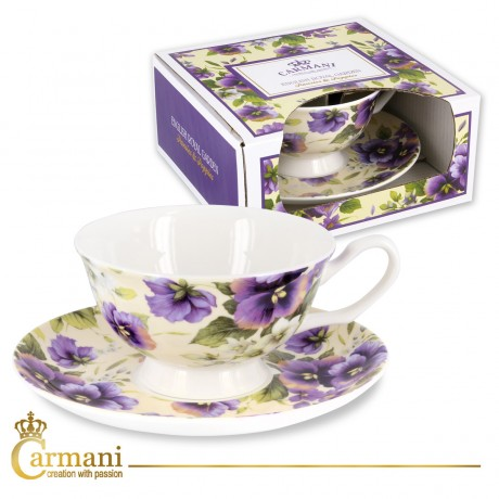 Fancy Tea cup and saucer with `pansy` 200 ml