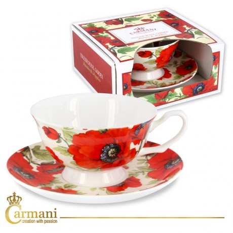Fancy Tea cup and saucer with `poppy` 200 ml
