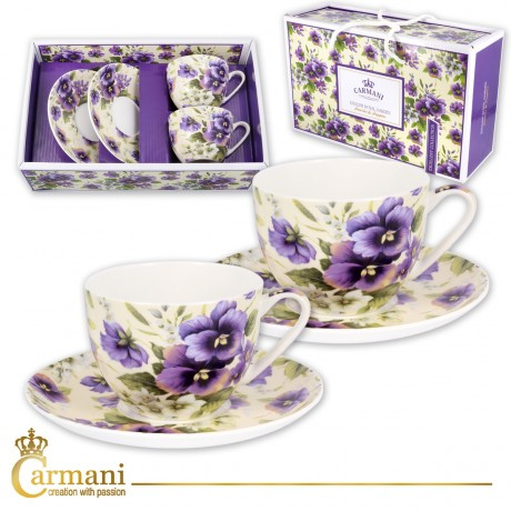 Fancy Tea cup and saucer set of 2 with `pansy` 200 ml