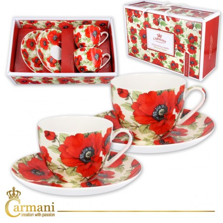 Fancy Tea cup and saucer set of 2 with `poppy` 200 ml