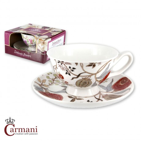 Small cup with saucer decorated with red flowers 220 ml