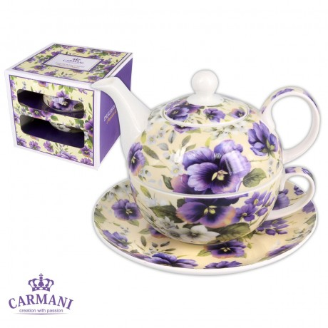 Elegant Tea for one, Set of tea maker decorated with `blue pansy` 350ml