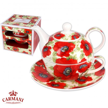 Elegant Tea for one, Set of tea maker decorated with `red poppy` 350ml