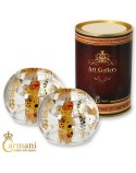 Fancy Glass Candle Tealight holder Luxury Centerpiece Wedding Tabletop Party Decorations with Gustav Klimt painting