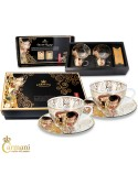 Unique Glass Painted Cappuccino Tea Coffee Latte Hot Chocolate Cup set of 2 with 'The Kiss' by Gustav Klimt