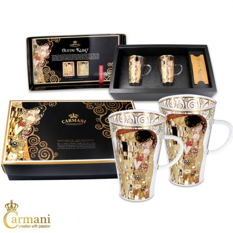 Unique Glass Painted Coffee Latte Cappuccino Tea Hot Chocolate Cup set of 2 with 'The Kiss' by Gustav Klimt