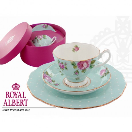 Blue Polka Vintage Time for Tea -Teacup and Dessert plate Set