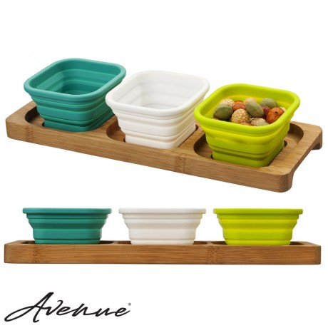 Bamboo foldable serving tray - multi-color