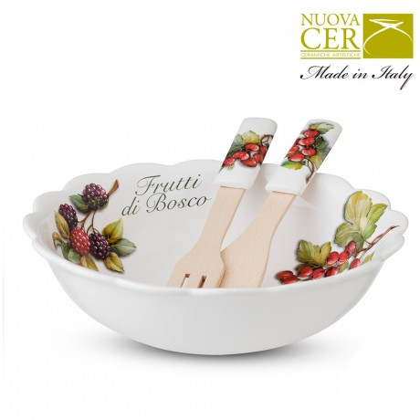 Set of salad bowl with spoon and fork - Frutti di Bosco