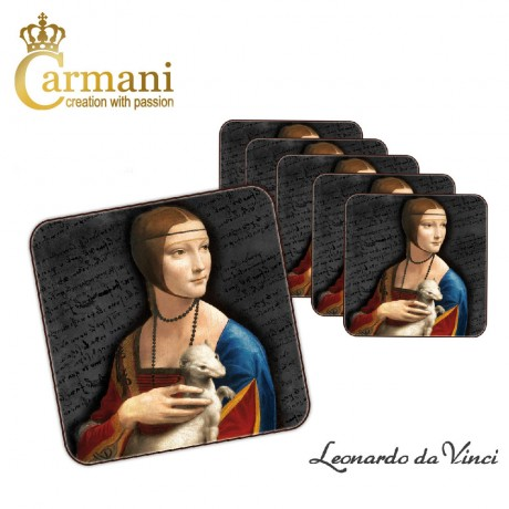 1 piece of Coaster / cork pad printed with Leonardo Da Vinci paintings
