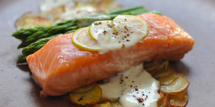 Rosé Poached Salmon & Lemony Parmesan Cream